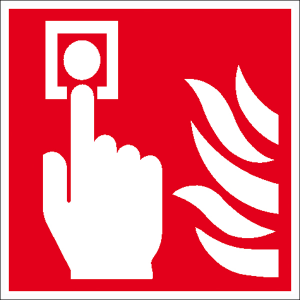 Brandschutzschild, Brandmelder (manuell) (Maße(BxH)/Material: 150 x 150 mm / Folie, selbstklebend,<br>langnachleuchtend (Art.Nr.: 38.a5150))
