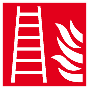 Brandschutzschild, Feuerleiter (Maße(BxH)/Material: 150 x 150 mm / Folie, selbstklebend,<br>langnachleuchtend (Art.Nr.: 38.a5160))