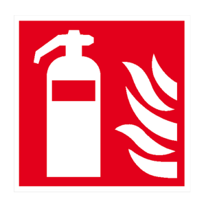 Brandschutzschild, Feuerlöscher (Maße (BxH)/Material: 50 x 50 mm / Folie, selbstklebend,<br>langnachleuchtend (Art.Nr.: 38.a5003))