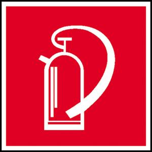 Brandschutzschild, Feuerlöscher, langnachleuchtend (Maße(BxH)/Material: 100 x 100 mm /  <b>Folie</b>, selbstklebend (Art.Nr.: 38.2702))