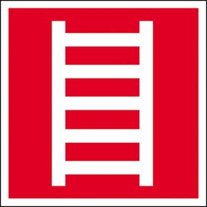 Brandschutzschild, Leiter, langnachleuchtend (Maße(BxH)/Material: 150 x 150 mm / Folie, selbstklebend (Art.Nr.: 38.2712))