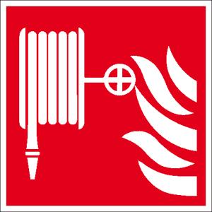 Brandschutzschild, Löschschlauch (Maße(BxH)/Material: 150 x 150 mm / Folie, selbstklebend,<br>langnachleuchtend (Art.Nr.: 38.a5105))