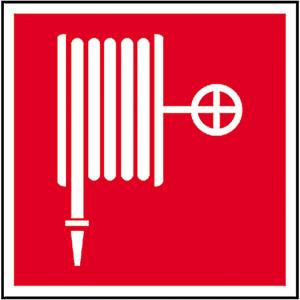 Brandschutzschild, Löschschlauch, langnachleuchtend (Maße(BxH)/Material: 150 x 150 mm / Alu, beschichtet (Art.Nr.: 15.2700))