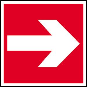 Brandschutzschild, Richtungsangabe links, rechts (Maße(BxH)/Material: 150 x 150 mm / Folie, selbstklebend,<br>langnachleuchtend (Art.Nr.: 38.2709))