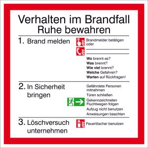 Brandschutzschild, Verhalten im Brandfall mit Symbolen nach DIN EN ISO 7010 (Material: Folie,selbstklebend,nicht langnachl. (Art.Nr.: 21.a5970))
