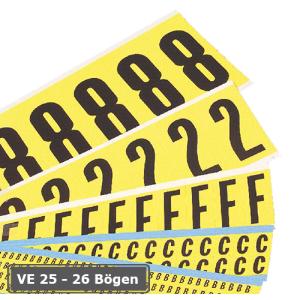 Buchstaben (26 Bögen) oder Ziffern (25 Bögen), Kombipackungen, selbstklebend (Schrifthöhe/Maße (BxH)/Lieferumfang: Ziffern  <b>25mm/22x38mm</b><br>25 Bögen/10 Etiketten je Bogen<br>3 Bögen 1/2/3/4/5<br>2 Bögen 6/7/8/9/0