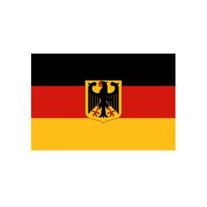 Bundeswappenflagge Deutschland, Stoffqualität FlagTop 110 g / m² oder 160 g / m² (Maße (LxB)/Format/Konfektionierung/Stoffqualität:  <b>60 x 90 cm</b> (Querformat)<br>mit Seil und Schlaufe<br>FlagTop  <b>110 g/m²</b><br>fü