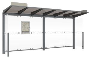Buswartehalle -Venedig-, Breite 2620 oder 5240 mm, mit Fahrplanschaukasten und Haltestellenschild
