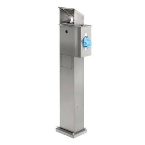 Desinfektionsspender aus Edelstahl, geeignet für 500 und 1000 ml, mit Spenderbox u. Abfallsammler (Ausführung: Desinfektionsspender aus Edelstahl, geeignet für 500 und 1000 ml, mit Spenderbox u. Abfallsammler (Art.Nr.: 39923))