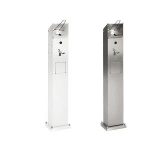 Desinfektionsspender aus Edelstahl oder Stahl, geeignet für 500 und 1000 ml, mit Abfallsammler (Material/Beschichtung: Stahlblech, verzinkt / weiß (Art.Nr.: 39920))