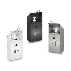 Desinfektionsspender aus Edelstahl oder Stahl, zur Wandmontage, geeignet für 500 und 1000 ml (Material/Beschichtung: Stahlblech, verzinkt / weiß (Art.Nr.: 39924))