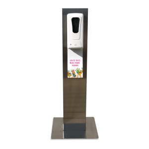 Desinfektionsstele / Hygienetower -Junior- aus Edelstahl, mit Touchless-Desinfektionsmittelspender (Ausführung: Desinfektionsstele/Hygienetower -Junior- aus Edelstahl, mit Touchless-Desinfektionsmittelspender (Art.Nr.: 39929))