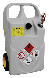 Diesel- und Heizöl-Trolley -CEMO- mit Schnellkupplung, 60 oder 100 Liter aus PE, ADR 1.1.3.1 c (Volumen/Maße (LxBxH)/Räder:  <b>60 Liter</b>/900x530x430mm<br>luftbereift (Ø240mm) (Art.Nr.: 34073))