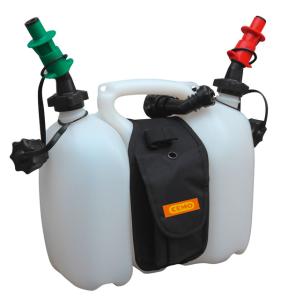 Doppelkanister -CEMO-, 3 + 6 Liter, aus HDPE, mit Satteltasche und Sicherheitseinfüllsystem (Ausführung: Doppelkanister -CEMO-, 3 + 6 Liter, aus HDPE, mit Satteltasche und Sicherheitseinfüllsystem (Art.Nr.: 32420))