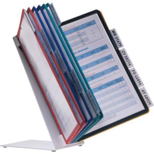 Durable Display System Tischaufsteller -VARIO TABLE- (Modell/Sichttafeln/Betriebsanweisungen:  <b>Vario Table 10</b>/10 Sichttafeln<br>je 2x schwarz,rot,gelb,grün,dunkelblau<br>für bis zu 20 Betriebsanweisungen (Art.Nr.: 90.9216))