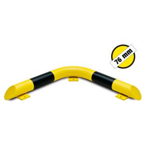 Eck-Rammschutzbalken -Mountain- Ø 76 mm aus Stahl, zum Aufdübeln, gelb / schwarz (Ausführung: Eck-Rammschutzbalken -Mountain- Ø 76 mm aus Stahl, zum Aufdübeln, gelb/schwarz (Art.Nr.: 25860))