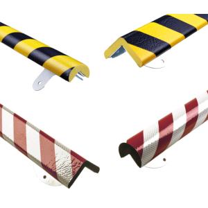 Eckschutz -Protect- Knuffi® aus PU, mit Edelstahlbasis, wahlweise 500 oder 1000 mm, zum Aufdübeln (Modell/Länge/Farbe/Laschen (BxL):  <b>Winkel 19/19 mm</b><br>Länge  <b>1000mm</b>, gelb/schwarz<br>mit  <b>6</b> Laschen 65x30mm<br>Bohrung