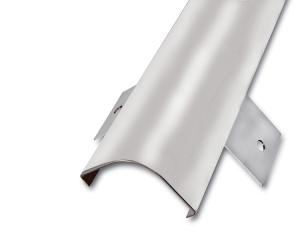 Eckschutzprofil aus Edelstahl, rund gekantet mit Anker, Oberfläche spiegelblank, Länge 2000 bis 2500 mm