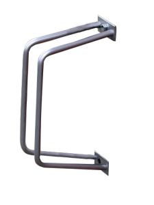 Einzelparker / Fahrradständer -Turin- aus Edelstahl, zur Wandbefestigung, Reifenbreite bis 55 mm (Modell: mit Einstellwinkel 90° (Art.Nr.: 10845))