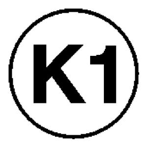 Elektrokennzeichnung / Betriebsmittelkennzeichnung, Kennzeichnung gemäß DGUV 203-005 für ortsveränderliche Betriebsmittel, K1 (Ausführung: Elektrokennzeichnung/Betriebsmittelkennzeichnung, Kennzeichnung gemäß DGUV 203-