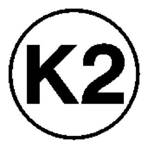 Elektrokennzeichnung / Betriebsmittelkennzeichnung, Kennzeichnung gemäß DGUV 203-005 für ortsveränderliche Betriebsmittel, K2 (Ausführung: Elektrokennzeichnung/Betriebsmittelkennzeichnung, Kennzeichnung gemäß DGUV 203-