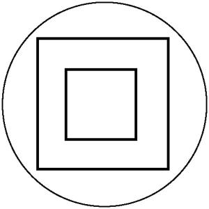 Elektrokennzeichnung / Betriebsmittelkennzeichnung, Schutzisoliert (Schutzklasse II) (Maße Ø/Variante: 25mm/15er-Bogen (Art.Nr.: 30.1598))