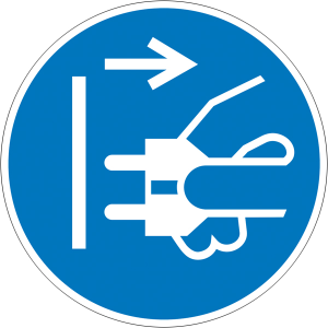 Elektrokennzeichnung / Gebotsschild, Netzstecker ziehen (Maße Ø/Material: 50mm/Folie,6er-Bogen (Art.Nr.: 30.a7427))