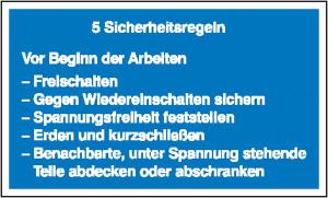 Elektrokennzeichnung / Hinweisschild, 5 Sicherheitsregeln (Maße (BxH) / Material: 200 x 120 mm / Kunststoff,<br>witterungsbeständig (Art.Nr.: 43.1311))