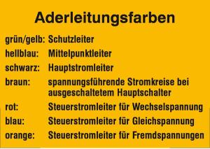 Elektrokennzeichnung / Hinweisschild, Aderleitungsfarben (Ausführung: Elektrokennzeichnung/Hinweisschild, Aderleitungsfarben (Art.Nr.: 21.0743))