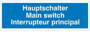 Elektrokennzeichnung / Hinweisschild, Hauptschalter, 3-sprachig (Ausführung: Elektrokennzeichnung/Hinweisschild, Hauptschalter, 3-sprachig (Art.Nr.: 30.0543))