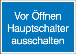 Elektrokennzeichnung / Hinweisschild, Vor Öffnen Hauptschalter ausschalten (Ausführung: Elektrokennzeichnung/Hinweisschild, Vor Öffnen Hauptschalter ausschalten (Art.Nr.: 21.1321))