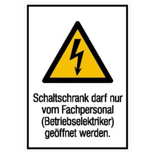 Elektrokennzeichnung / Kombischild, Schaltschrank darf nur vom Fachpersonal... (Maße (BxH)/Material: 131 x 185 mm / Folie, selbstklebend (Art.Nr.: 21.1296))
