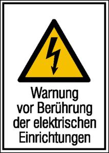 Elektrokennzeichnung / Kombischild, Warnung vor Berührung der elektrischen Einrichtungen (Ausführung: Elektrokennzeichnung/Kombischild, Warnung vor Berührung der elektrischen Einrichtungen (Art.Nr.: 21.1246))