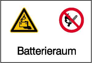 Elektrokennzeichnung / Kombischild mit Warnzeichen und Verbotszeichen, Batterieraum (Ausführung: Elektrokennzeichnung/Kombischild mit Warnzeichen und Verbotszeichen, Batterieraum (Art.Nr.: 43.1357))