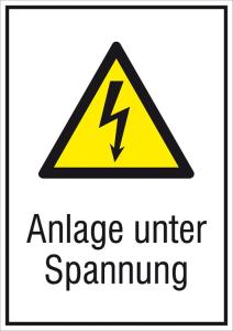 Elektrokennzeichnung / Kombischild mit Warnzeichen und Zusatztext, Anlage unter Spannung (Maße (BxH)/Material: 131 x 185 mm / Folie, selbstklebend (Art.Nr.: 21.1238))