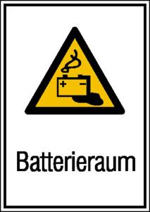 Elektrokennzeichnung / Kombischild mit Warnzeichen und Zusatztext, Batterieraum (Maße (BxH)/Material: 131 x 185 mm / Folie, selbstklebend (Art.Nr.: 21.1247))