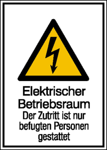 Elektrokennzeichnung / Kombischild mit Warnzeichen und Zusatztext, Elektrischer Betriebsraum... (Maße (BxH)/Material: 131 x 185 mm / Aluminium, hart (Art.Nr.: 51.1243))