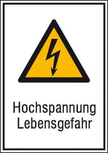 Elektrokennzeichnung / Kombischild mit Warnzeichen und Zusatztext, Hochspannung Lebensgefahr (Maße (BxH)/Material: 131 x 185 mm / Alu, geprägt (Art.Nr.: 11.0428))