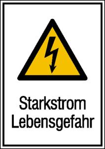 Elektrokennzeichnung / Kombischild mit Warnzeichen und Zusatztext, Starkstrom Lebensgefahr (Material: Folie, selbstklebend (Art.Nr.: 21.1368))