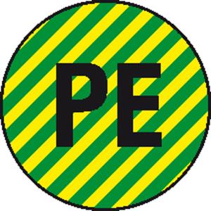 Elektrokennzeichnung / Leiterkennzeichnung, Schutzleiter (PE) selbstklebend (Maße Ø/Variante: 12,5 mm / 40er-Bogen  (Art.Nr.: 30.1601))