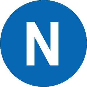 Elektrokennzeichnung / Leiterkennzeichnung, Wechselstrom-Netz Neutralleiter (N) (Maße Ø/Variante: 12,5 mm / 40er-Bogen (Art.Nr.: 30.1518))