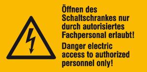 Elektrokennzeichnung / Warn-Kombischild, Öffnen des Schaltschrankes nur durch ..., 2-sprachig (Ausführung: Elektrokennzeichnung/Warn-Kombischild, Öffnen des Schaltschrankes nur durch ..., 2-sprachig (Art.Nr.: 30.0666))