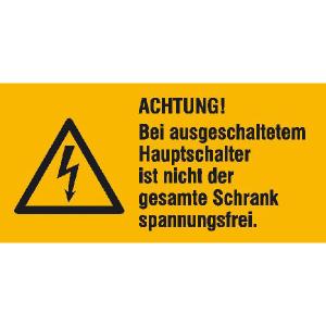 Elektrokennzeichnung / Warnkombischild, ACHTUNG! Bei ausgeschaltetem Hauptschalter ... (Maße (BxH)/Material: 52 x 26 mm / Folie, 9er-Bogen (Art.Nr.: 30.1324))