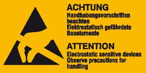 Elektrokennzeichnung / Warnkombischild, ACHTUNG Handhabungsvorschriften beachten ..., 2-sprachig (Maße (HxB)/Menge: 32 x 16 mm / 30er-Bogen (Art.Nr.: 30.2058))