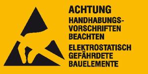 Elektrokennzeichnung / Warnkombischild, ACHTUNG Handhabungsvorschriften beachten (Maße (BxH)/Material: 52 x 26 mm / 9er-Bogen (Art.Nr.: 30.2054))