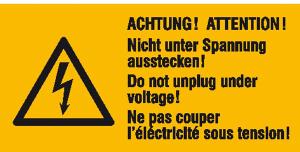 Elektrokennzeichnung / Warnkombischild, ACHTUNG! Nicht unter Spannung ausstecken!, 3-sprachig (Ausführung: Elektrokennzeichnung/Warnkombischild, ACHTUNG! Nicht unter Spannung ausstecken!, 3-sprachig (Art.Nr.: 30.0608))