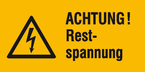 Elektrokennzeichnung / Warnkombischild, ACHTUNG! Restspannung (Maße (BxH)/Material: 52 x 26 mm / Folie, 9er-Bogen (Art.Nr.: 30.0598))