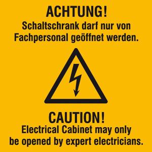 Elektrokennzeichnung / Warnkombischild, ACHTUNG! Schaltschrank darf nur ..., 2-sprachig (Ausführung: Elektrokennzeichnung/Warnkombischild, ACHTUNG! Schaltschrank darf nur ..., 2-sprachig (Art.Nr.: 21.0648))