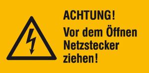 Elektrokennzeichnung / Warnkombischild, ACHTUNG! Vor dem Öffnen Netzstecker ziehen! (Maße (BxH)/Material: 131 x 65 mm/Folie, selbstklebend (Art.Nr.: 21.1418))