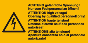Elektrokennzeichnung / Warnkombischild, ACHTUNG gefährliche Spannung! ..., 4-sprachig (Ausführung: Elektrokennzeichnung/Warnkombischild, ACHTUNG gefährliche Spannung! ..., 4-sprachig (Art.Nr.: 30.0621))